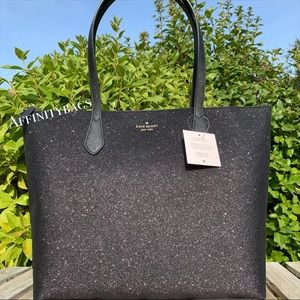 Kate spade large joeley Black glitter Holiday Tote